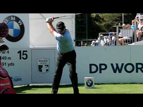 Paul Lawrie golf swing Driver (face-on), BMW PGA Wentworth, May 2017.