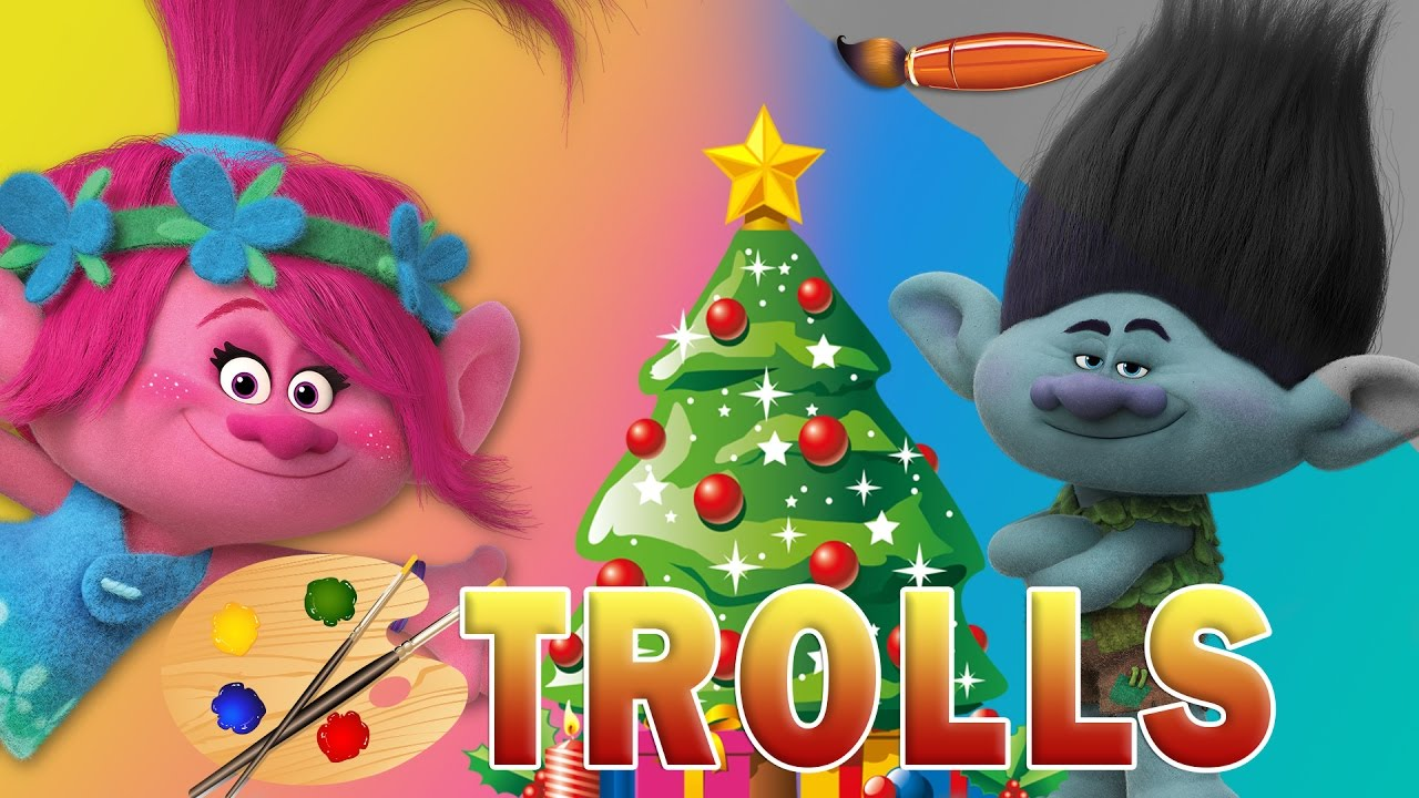trolls movie christmas kids coloring book coloring pages for children with poppy and branch youtube
