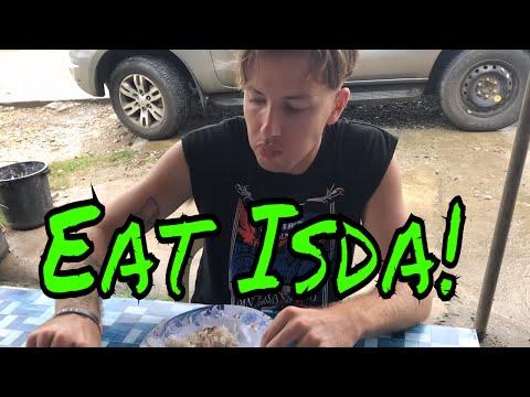 American Eating Isdang Paksiw - Filipino Food - Batuan, Bohol Philippines