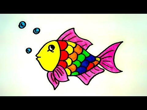 How To Drawing Fish & Coloring Pages For Kids | How To Draw A Fish Easy Step By Step