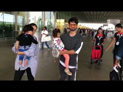 Shahid Kapoor, Mira Rajput spotted with kids at Mumbai airport
