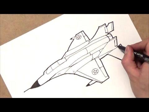 como dibujar una avion | como dibujar un jet | paso a paso ...