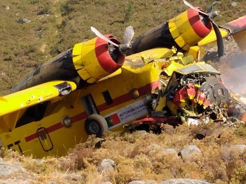 Un hidroavión de lucha contra incendios portugués se accidenta en Lobios