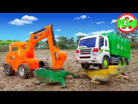 Xe ô tô chở rác, máy xúc và thằn lằn - đồ chơi trẻ em B335V Kid Studio