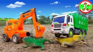 Garbage trucks, excavators and lizards - children's toys B335V Kid Studio