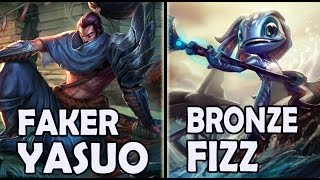 FAKER plays YASUO vs A Korean BRONZE FIZZ