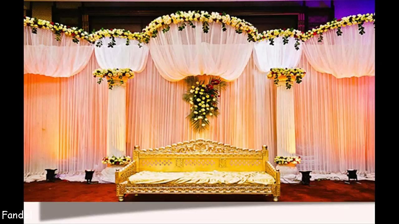 Indian wedding stage decoration youtube for Background decoration images