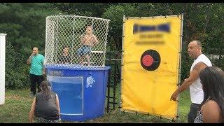Screaming Ecstatic Kids Dunk a Kid in the Tank | Boys versus Girls Challenge