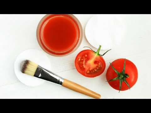 DIY organic tomato face mask for dry skin | home remedies beauty tips