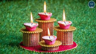 DIYA AND CANDLE HOLDER CRAFT | How to make Diya stand | Diya decoration ideas | Best out of waste