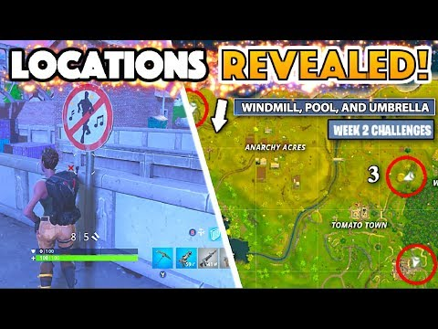 Dance Locations! Search Windmill, Pool, Umbrella | Fortnite Week 2 Challenges Battle Pass