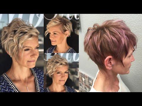 Стрижки пикси 2019 для женщин 50 - 60 лет. Модные женские прически 50+ на короткие волосы.