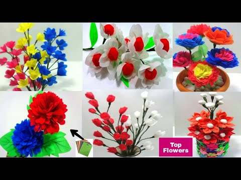 Top 6 Shopping Bag Flowers Making Idea - Making Six Beautiful Idea of Shopping Bag Flowers