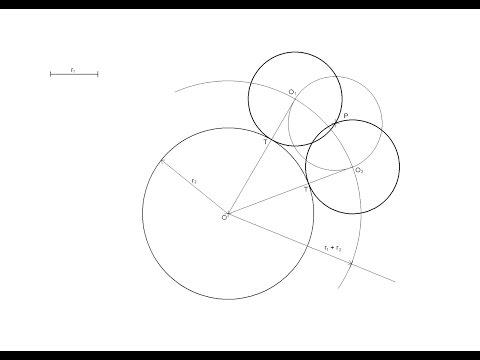 Circunferencias de radio conocido tangentes a otra dada pasando por un punto exterior