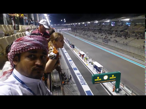 F1 raceing Yas Marina circuit 2017 and 2018 abu dhabi in United Arab Emirates. Dubai. car crash