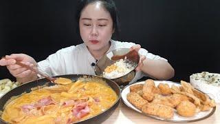 신전먹방:) 신전 신메뉴!! 🌶 로제 떡볶이 매운맛 X 2 미니핫도그 참치샐러드컵밥 먹방 spicy tteokbokki mukbang