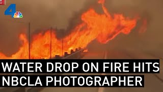 NBCLA Photographer Get Hit With Water Drop Live On Air as Flames Jump Freeway | NBCLA