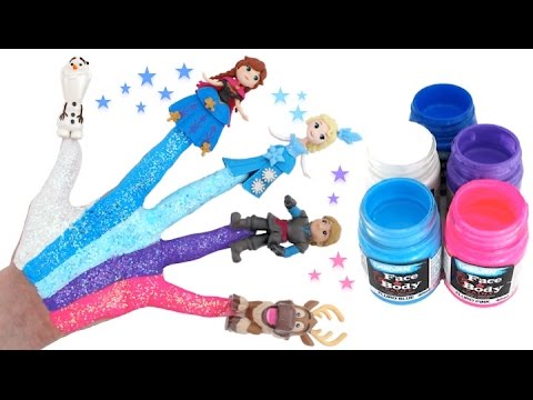 Thumbnail: Disney Frozen Body Painting Learning Colors for Children with Finger Family Nursery Rhymes