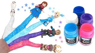 Disney Frozen Body Painting Learning Colors for Children with Finger Family Nursery Rhymes