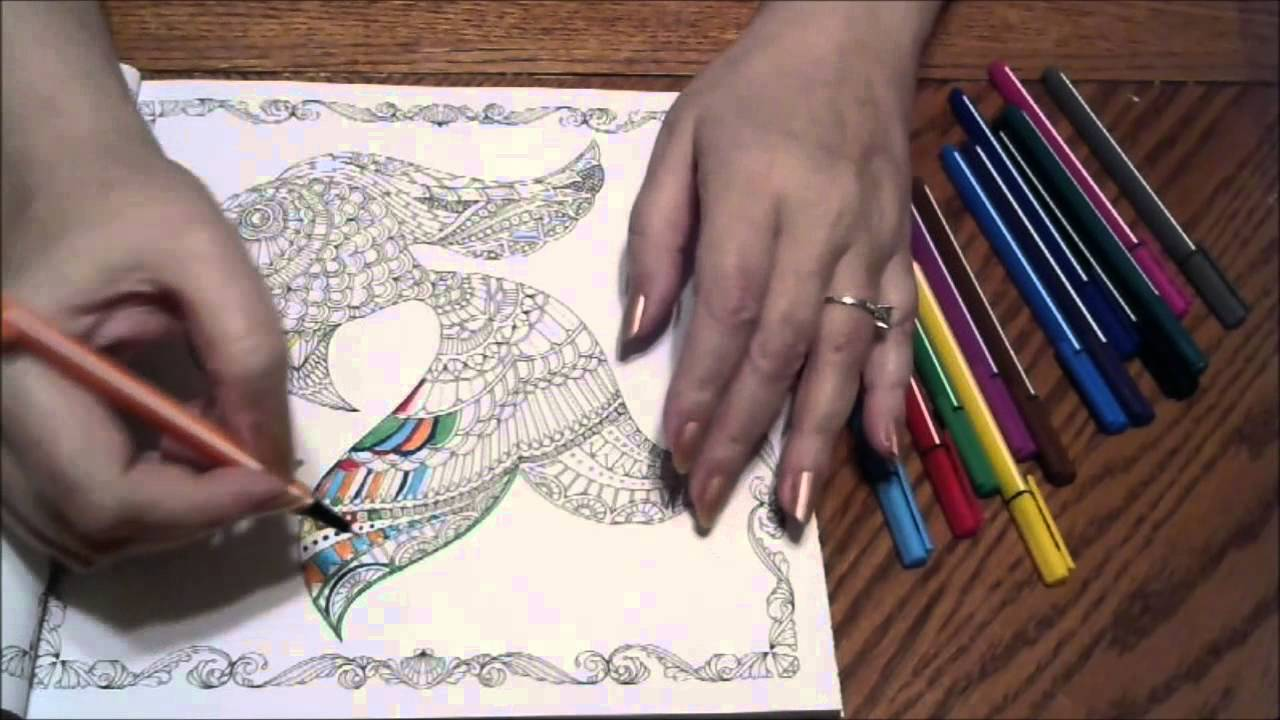 ASMR Fine Tip Marker Coloring In The Lost Ocean By Johanna