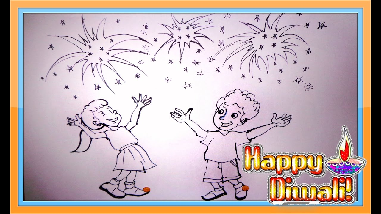 Diwali Scene Drawing | Diwali Rangoli Designs | Cartoon Drawing for ...