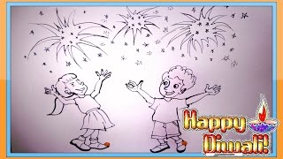 Diwali Scene Drawing | Diwali Rangoli Designs | Cartoon Drawing for Kids