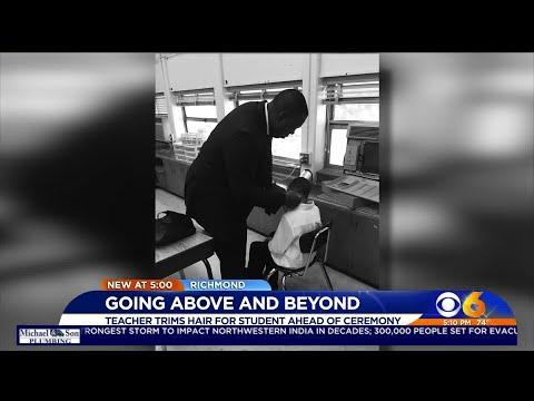 Kylie - GOOD VIBES: Teacher cuts students hair before graduation