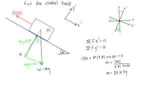 How to calculate noŗmal force on a slope (statics)