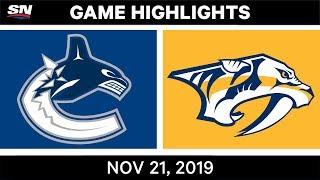 NHL Highlights   Canucks vs. Predators – Nov. 21, 2019