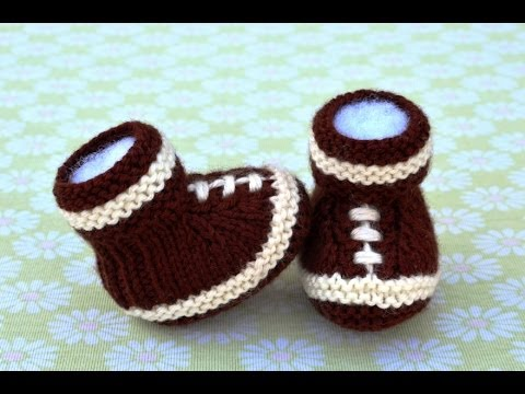 How to Knit Football Baby Booties Part 1 - YouTube
