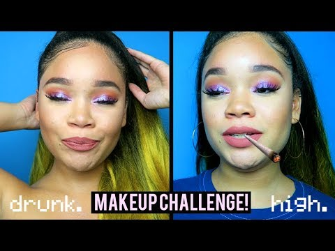 DRUNK VS. HIGH MAKEUP CHALLENGE 😂🍻