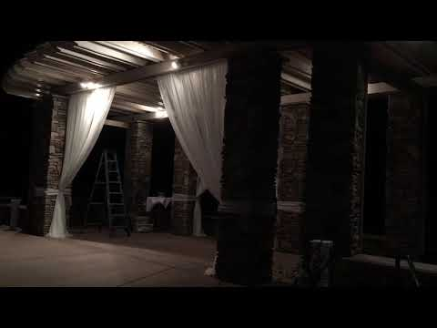 Wedding event drapes and chindelere set up