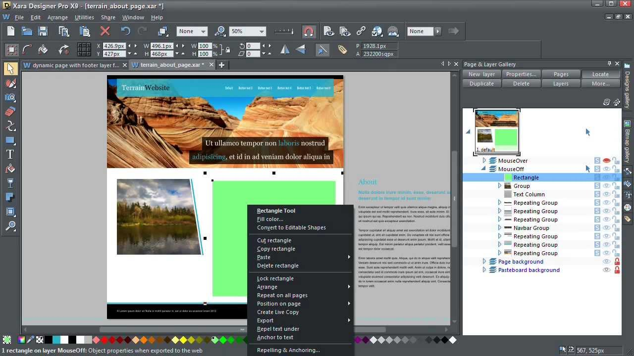 Dynamic Web Pages in Xara