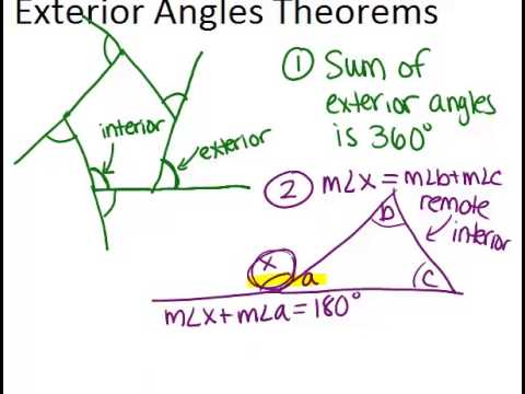 Exterior angles theorems lesson geometry concepts youtube - How to do exterior angle theorem ...