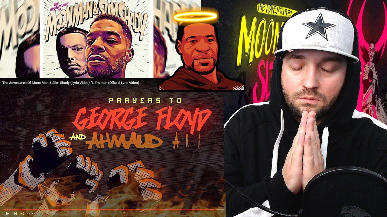 BARS!! Kid Cudi - The Adventures Of Moon Man & Slim Shady ft. Eminem (Lyric Video) REACTION