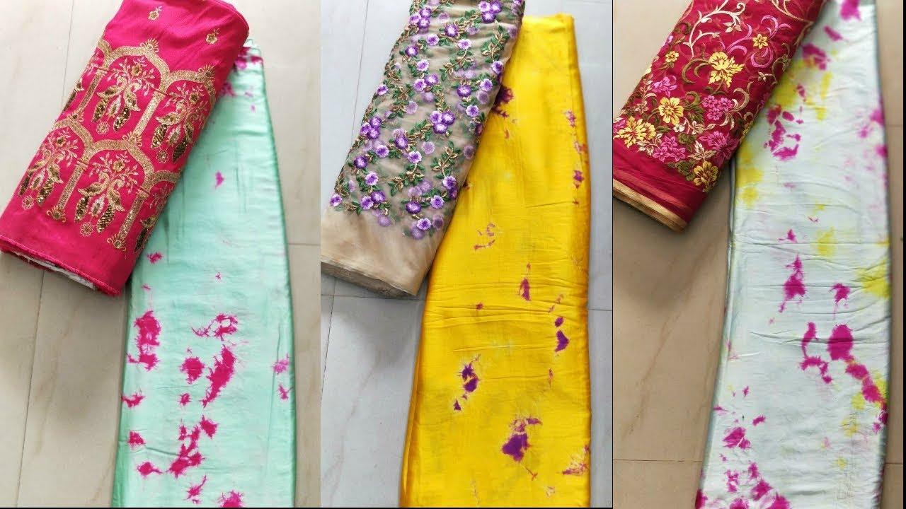 designer shibori satin sarees & blouse piece with price | seg - youtube