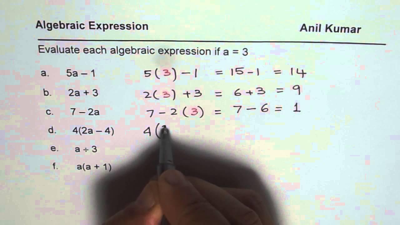 Practice Worksheet to Evaluate Algebraic Expressions - YouTube [ 720 x 1280 Pixel ]
