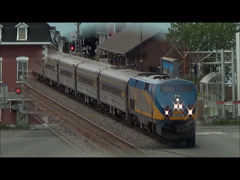 Fast VIA Rail Trains near Ottawa Ontario on the Smiths Falls Subdivision
