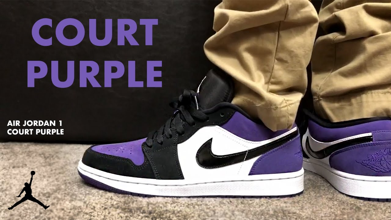 air jordan 1 low court purple on feet