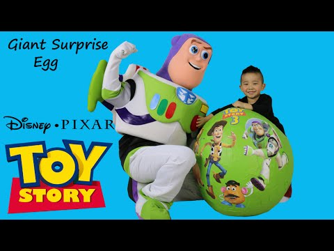 Thumbnail: Disney Toy Story Super Giant Surprise Egg With Woody Buzz Lightyear Talking Toys Cars Ckn Toys