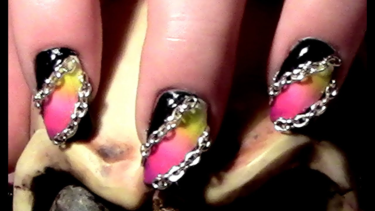 gradient rock chain nail design zum selber machen tutorial ombre nageldesign youtube. Black Bedroom Furniture Sets. Home Design Ideas