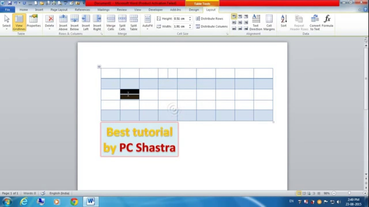 How to Divide Cells into Row and Column in Microsoft Word