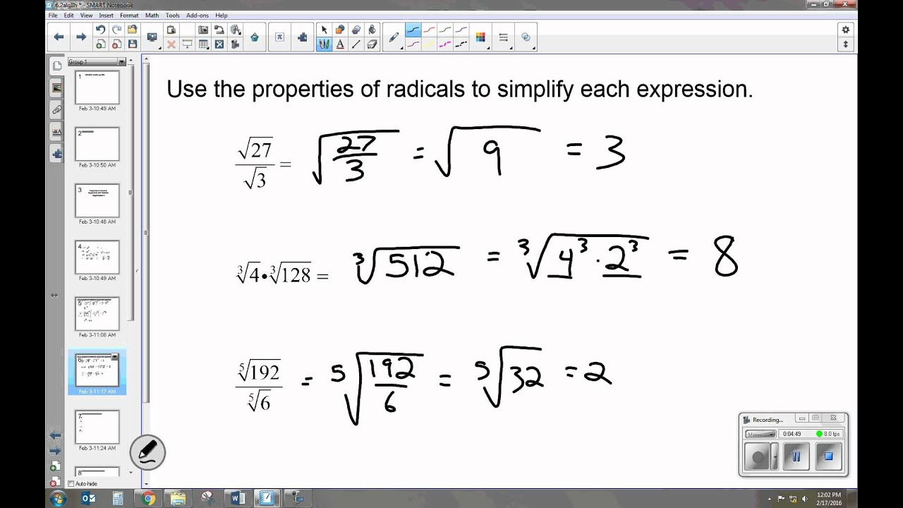 worksheet Exponents And Radicals properties of rational exponents and radicals 6 2 algebra ii ii