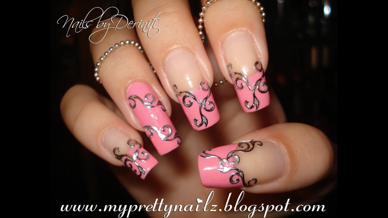 EASY BEAUTIFUL FRENCH TIPS WITH BPS EMBOSSED METAL STYLE NAIL ...