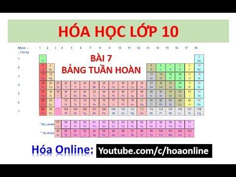 Hóa học 10 – Bài 7 – Bảng tuần hoàn các nguyên tố hóa học