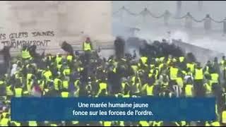 Gilet jaune :  Bagarre, émeute et Agression contre des CRS à l'arc de triomphe !!
