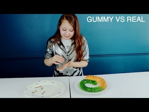 Thumbnail: REAL FOOD VS GUMMY FOOD CANDY!! *SUPER GROSS WORMS*
