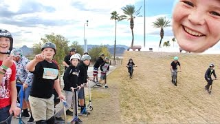 CRAZY SCOOTER KIDS RACE DOWN GIANT GRASS HILL!