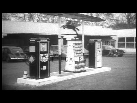 Empty roads and  unused gas pumps during a fuel shortage in France HD Stock Footage