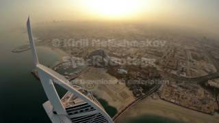 Burj Al Arab hotel in Dubai, UAE. Helicopter view